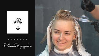 Колорирование волос и стрижка карэ(Колорирование волос в три цвета. Первый, основной цвет - светло-бежевый блонд, второй цвет - темно-русый беже..., 2015-11-10T19:59:31.000Z)