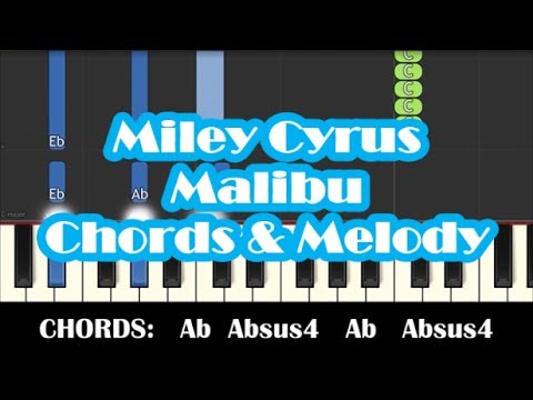 Miley Cyrus - Malibu - Easy Chords & Melody Piano Tutorial - How To Play