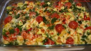 Как приготовить куриное филе под овощами и сыром моцарелла; Просто и очень вкусно;