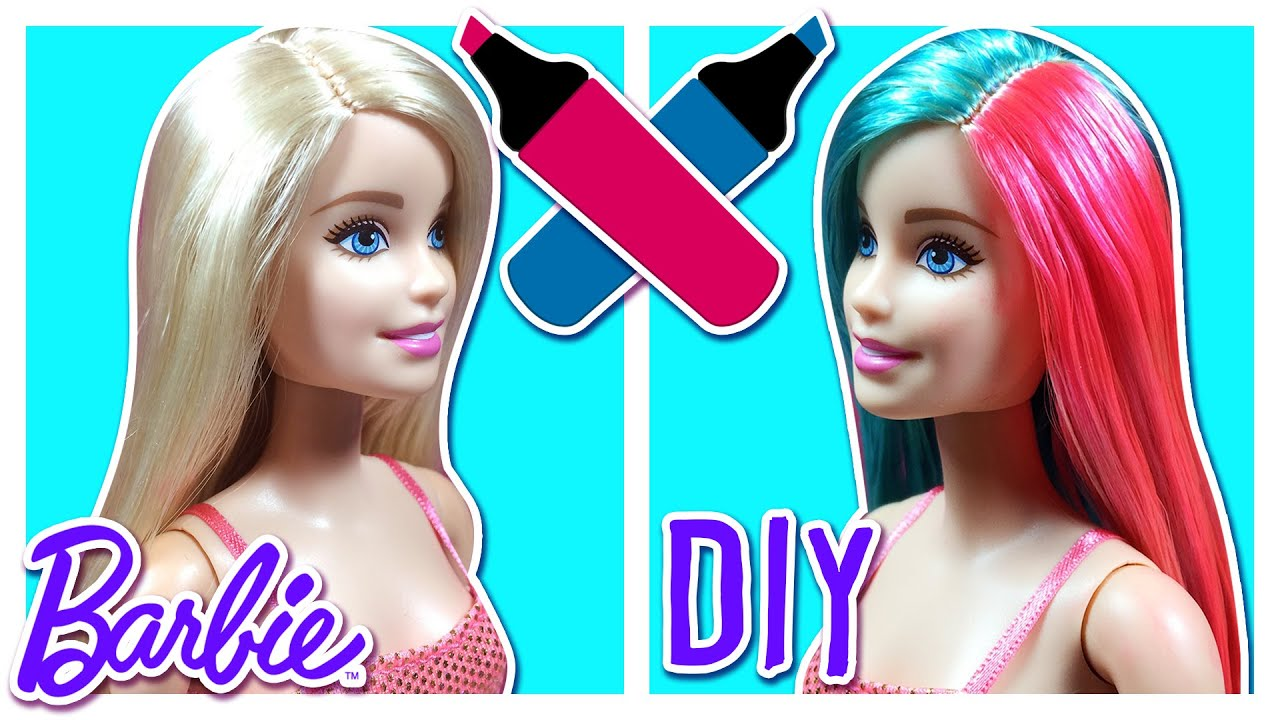DIY How To Color Barbie Doll Hair Barbie Hair Care Tutorial - Barbie hair style drawing