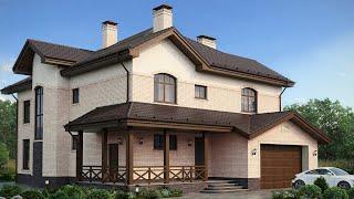 Проект дома в европейском стиле. Дом с эркером, сауной, террасой и гаражом. Ремстройсервис М-164