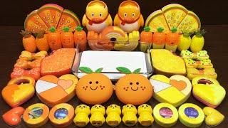 Yellow vs Orange Slime | Mixing Makeup and Glitter into Slime ASMR! Satisfying Slime Videos #1