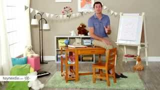 Lipper Writing Workstation Desk & Chair - Pecan - Product Review Video