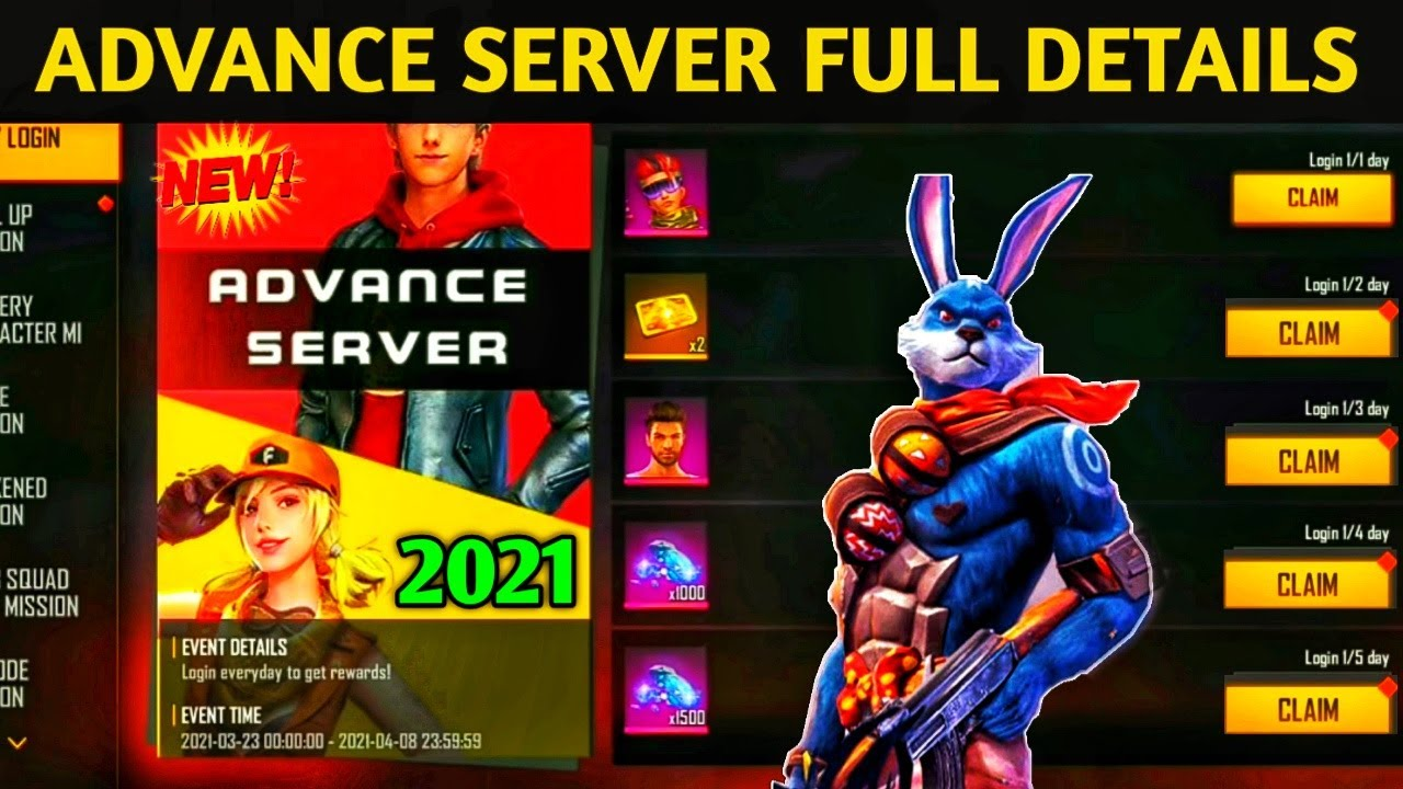 Download Free Fire Advance Server 2021 Full Details   New Character,Free Diamonds,New Emotes and New Gun