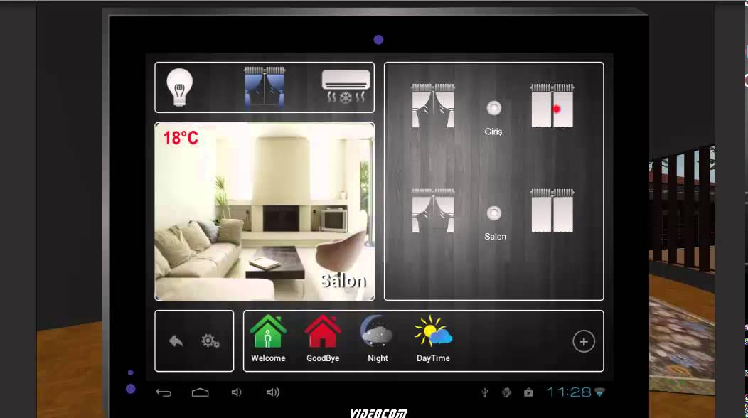 Videocom Smart Home System Control By Android Touch Panel And Mobile Phone Simulation
