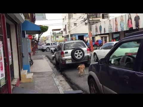 Life in Dominican Republic city living driving traffic walking people town cars