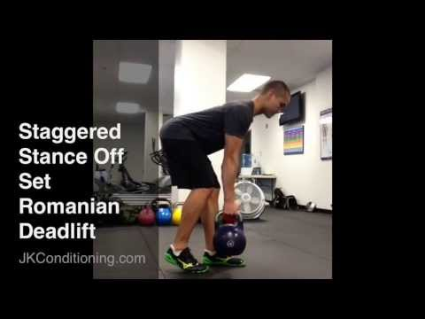 staggered stance off set romanian deadlift youtube