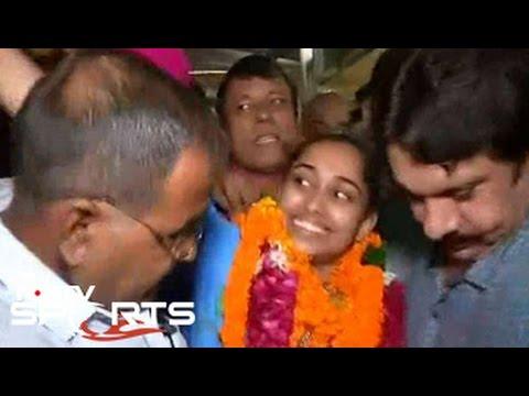 Dipa Karmakar arrives in Delhi after Rio 2016 success
