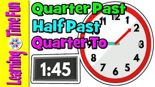 Telling the Time | Time for Kids | Quarter Past, Half Past, Quarter To | Digital Clock, Analog Clock