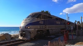 Amtrak trains & 1 Metrolink train in San Clemente, CA (November 24th, 2013)