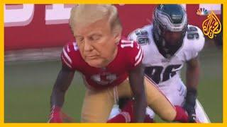 شاهد | حملة ترمب تصور الرئيس كأنه لاعب كرة قدم أمريكية ينتصر على منافس آخر على شكل 🇺🇸فيروس كورونا
