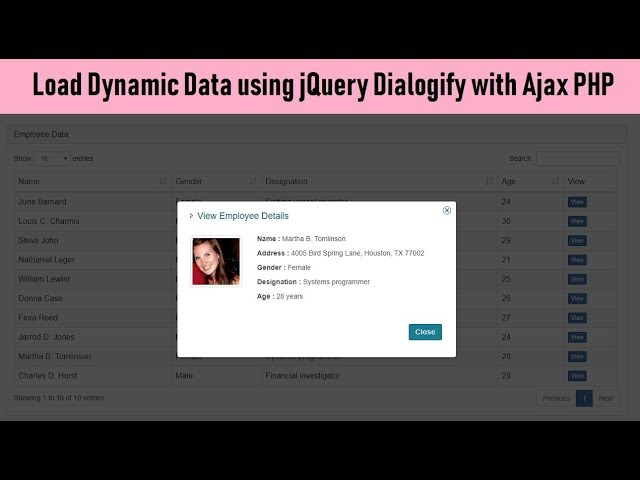Load Dynamic Data using jQuery Dialogify with Ajax PHP