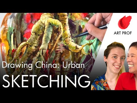 Urban Sketching in China with Copic Markers & Brush Pens
