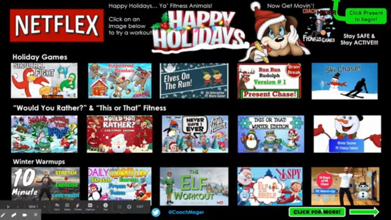 Download Holiday PE Games : NETFLEX Brain Break Choice Board!