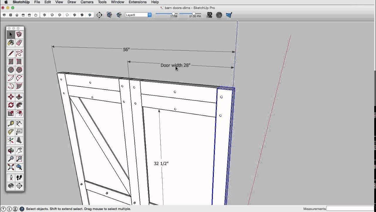 Sketchup skill builder dimensions youtube for Sketchup door