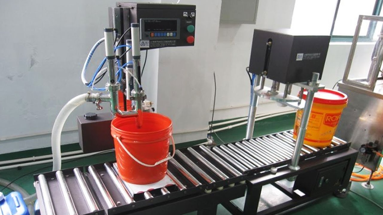 20l Lubricant Oil Bucket Filling Capping Machine Automatic