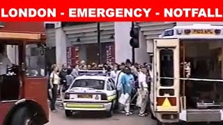 Chaos in LONDON 1999 Emergency - Notfall -Police, Ambulance, rescue helicopter, Routemaster buses