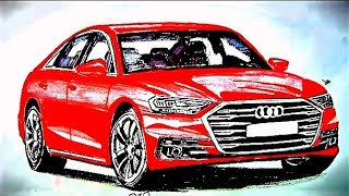 How to Draw Audi A8 2018 EASILY