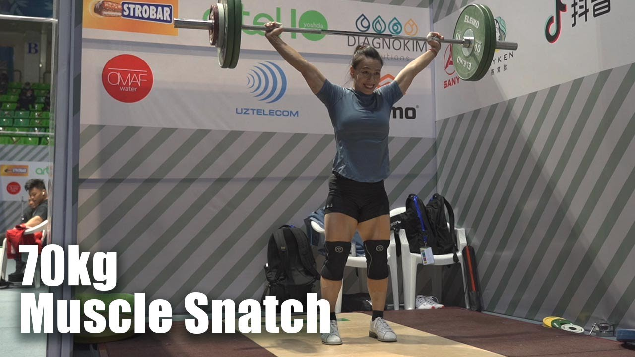 Download Kuo Hsing-chun 70kg Muscle Snatch + Coach Lin is a babe