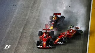 Vettel, Verstappen, Raikkonen Crash In Dramatic Start | 2017 Singapore Grand Prix