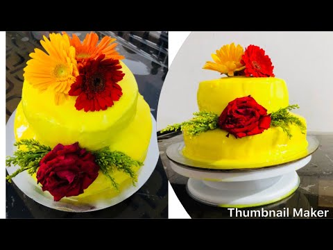 easy-two-tier-haldi-cake-/-wedding-cake-/-how-to-make-two-tiered-cake-without-oven