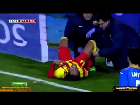 Getafe vs Barcelona 0 2 Neymar Injury vs Getafe HD 16 1 2014   YouTube