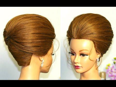 Прическа для  средних волос. Ракушка с начесом.