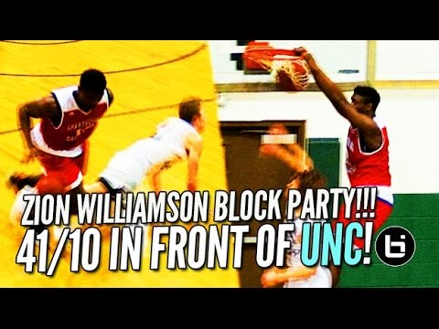 zion-williamson-goes-off-the-backboard-in-front-of-unc's-roy-williams!!!-41/10-raw-highlights!