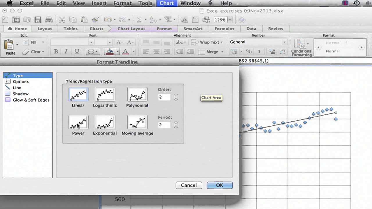How to Add a Best Fit Line in Excel for a Mac : Using ...
