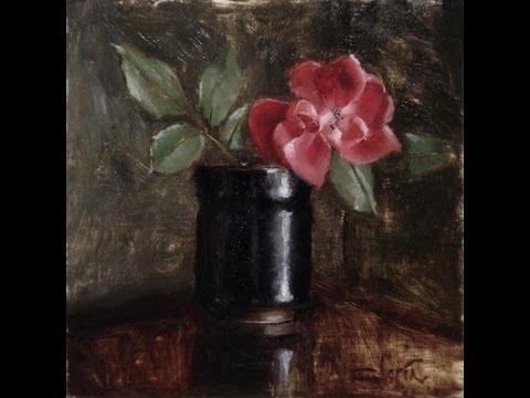Flower Painting Demo Painting A Red Rose In A Vase Youtube