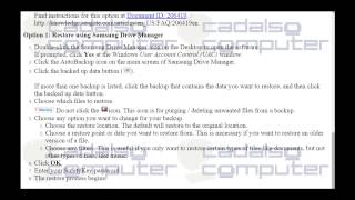 How to restore files using Samsung Drive Manager software