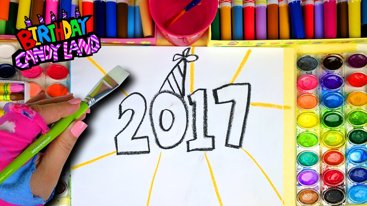 learn colors for kids and hand color watercolor 2017 happy new
