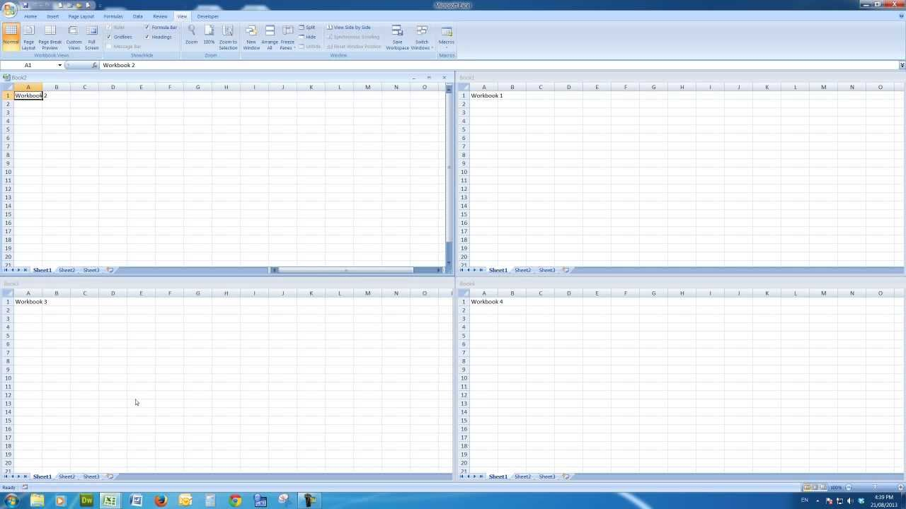 how to show excel files in different windows