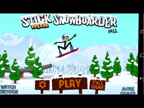 Stickman Snowboarder Free Android App Video Review (FREE Apps)  - CrazyMikesapps