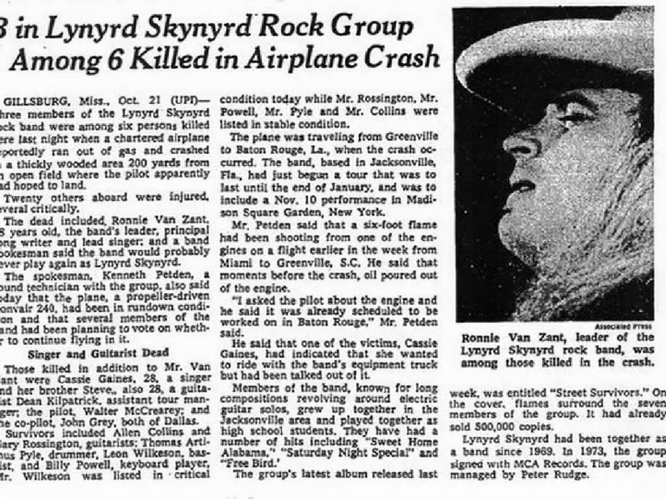 Lynyrd Skynyrd Plane Crash Radio Report 4 YouTube