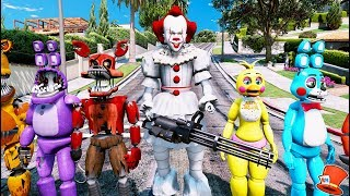 IT PENNYWISE CLOWN MOD & ANIMATRONICS TAKE OVER THE WORLD! (GTA 5 Mods For Kids FNAF RedHatter)