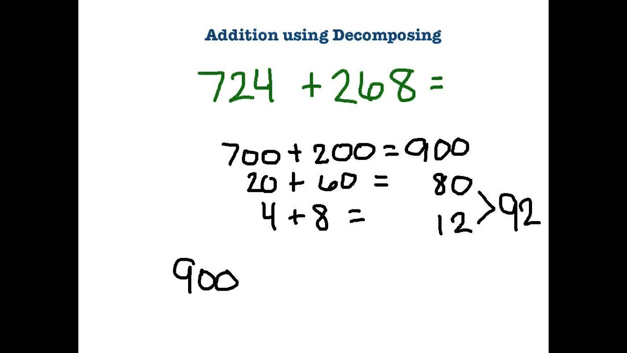 3rd Grade: Addition Using Decomposing - YouTube