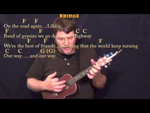 On the Road Again (Willie Nelson) Ukulele Cover Lesson in C with Chords/Lyrics