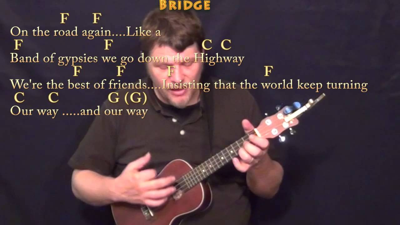 On The Road Again Willie Nelson Ukulele Cover Lesson In C With