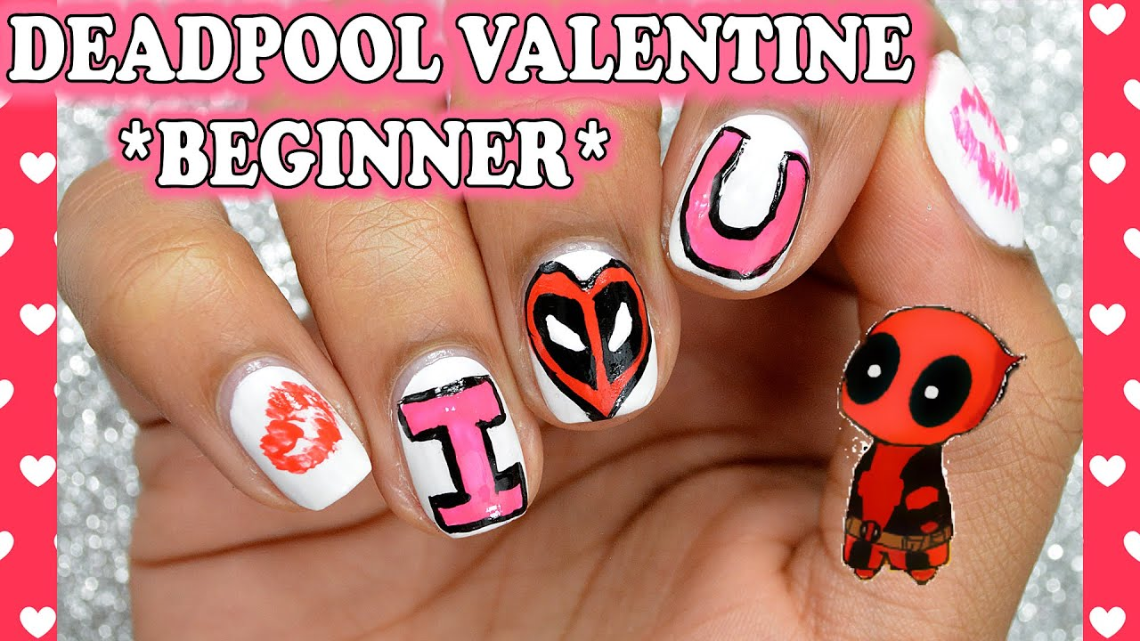 DIY: Deadpool Valentine *Beginner Nail Art* - YouTube