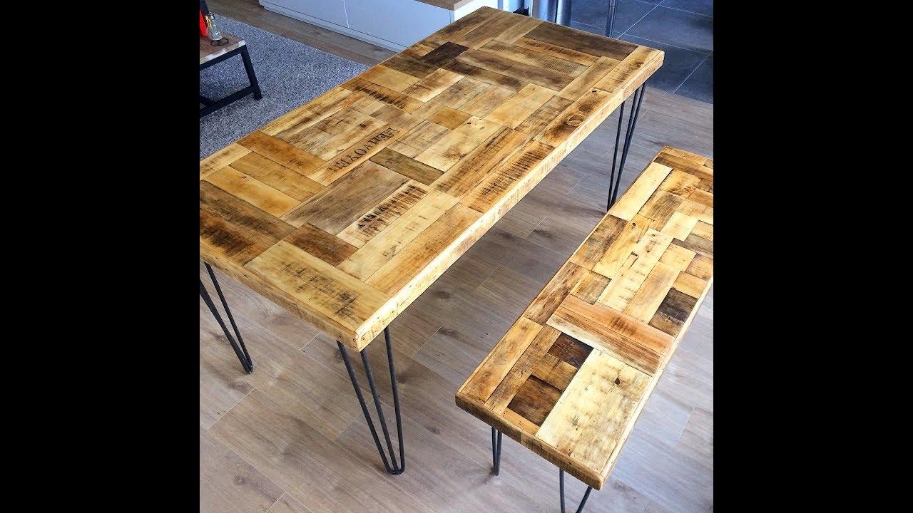 Diy Tutoriel Creation Fabrication Realisation Plateau De Table Vintage En Bois De Recuperation Youtube