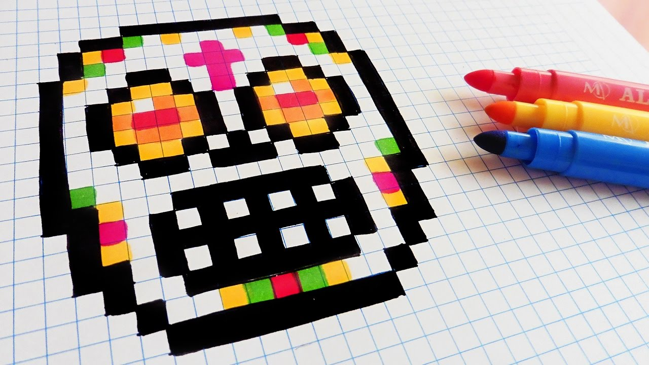 Halloween Pixel Art - How To Draw Sugar Skull #pixelart ...