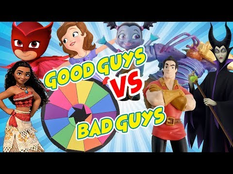 Good Guys VS Bad Guys Spin the Wheel Game for Prizes! W/ Vampirina, Elsa and Sofia the First |