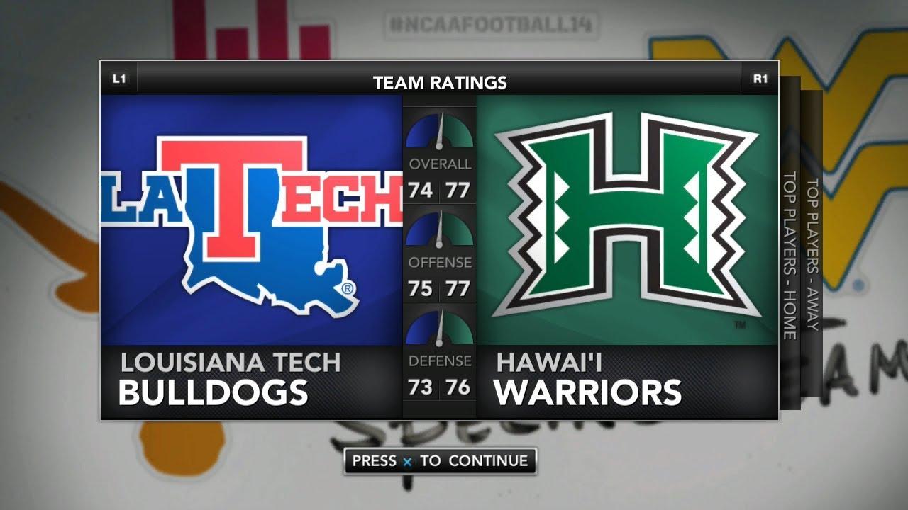 Ncaa Football 14 Rosters Updated For 2018 2019 Hawaii Bowl Game Louisiana Tech Vs Hawaii Youtube