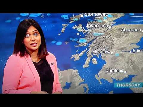 BBC weather girl Kawser Quamer loses it during weather forecast