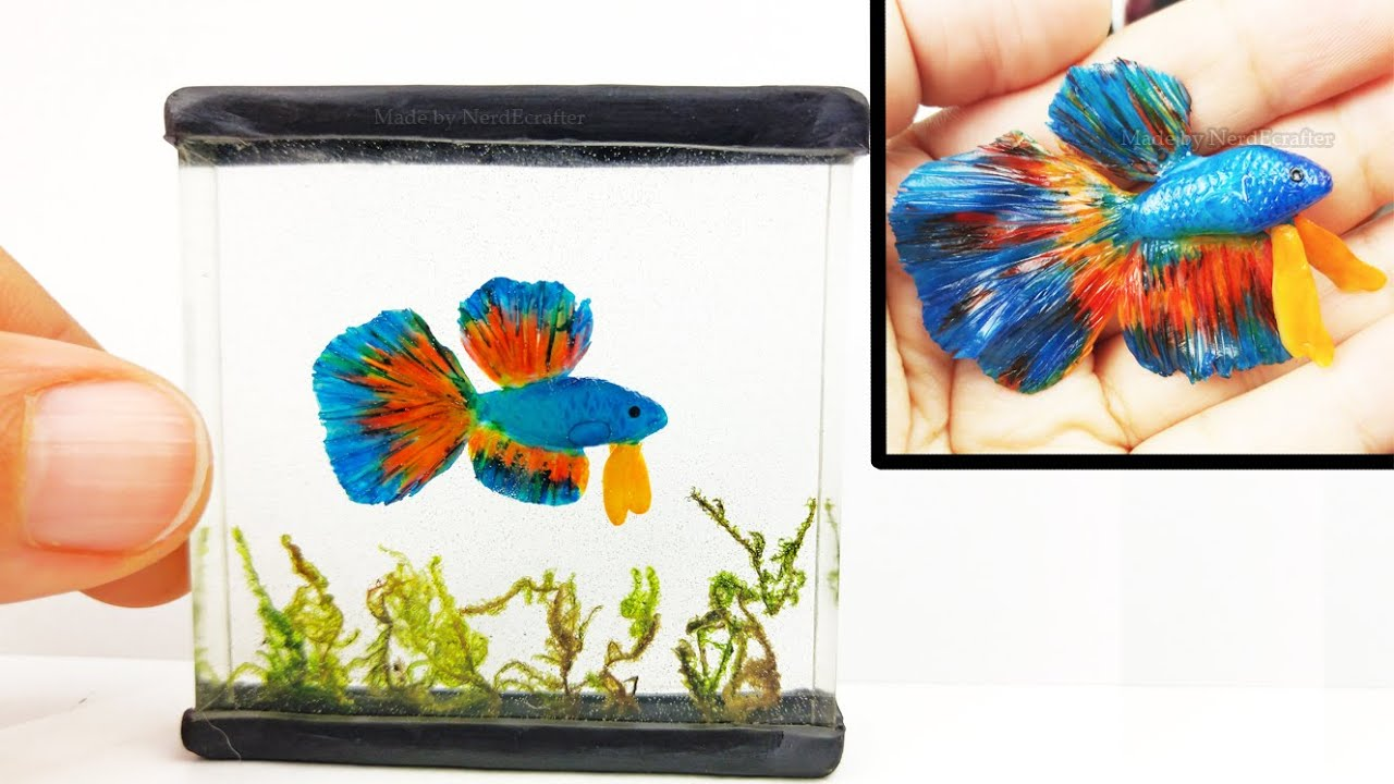DIY BETTA FISH TANK Inks, Resin, Polymer Clay Tutorial - How to make a ...