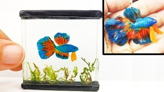 DIY BETTA FISH TANK Chameleon Inks, Resin, Polymer Clay Tutorial