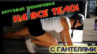 Круговая жиросжигающая тренировка на все тело, дома с гантелями.(В данном видео представлен комплекс упражнений, а точнее - полноценная тренировка. Начиная с разминки и..., 2016-06-27T16:45:07.000Z)