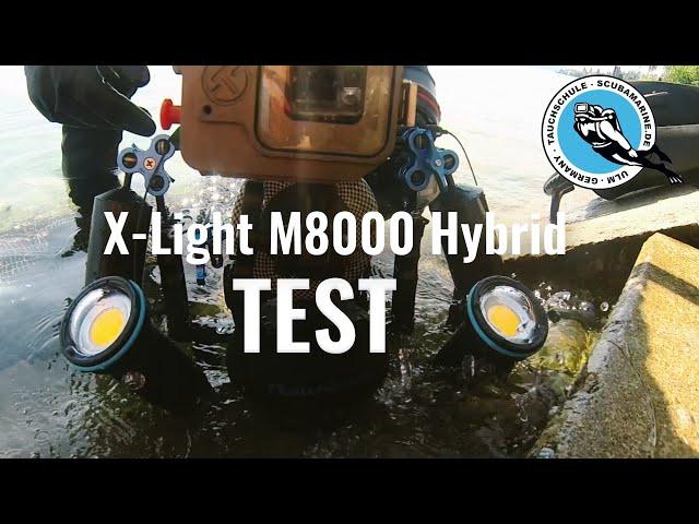 Test X-LIGHT M8000 Hybrid Videolampe beim Tauchen am Bodensee
