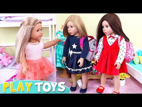 AG Baby Doll Sleepover Party with Pizza Dinner in Doll Bedroom with Bunk Beds!